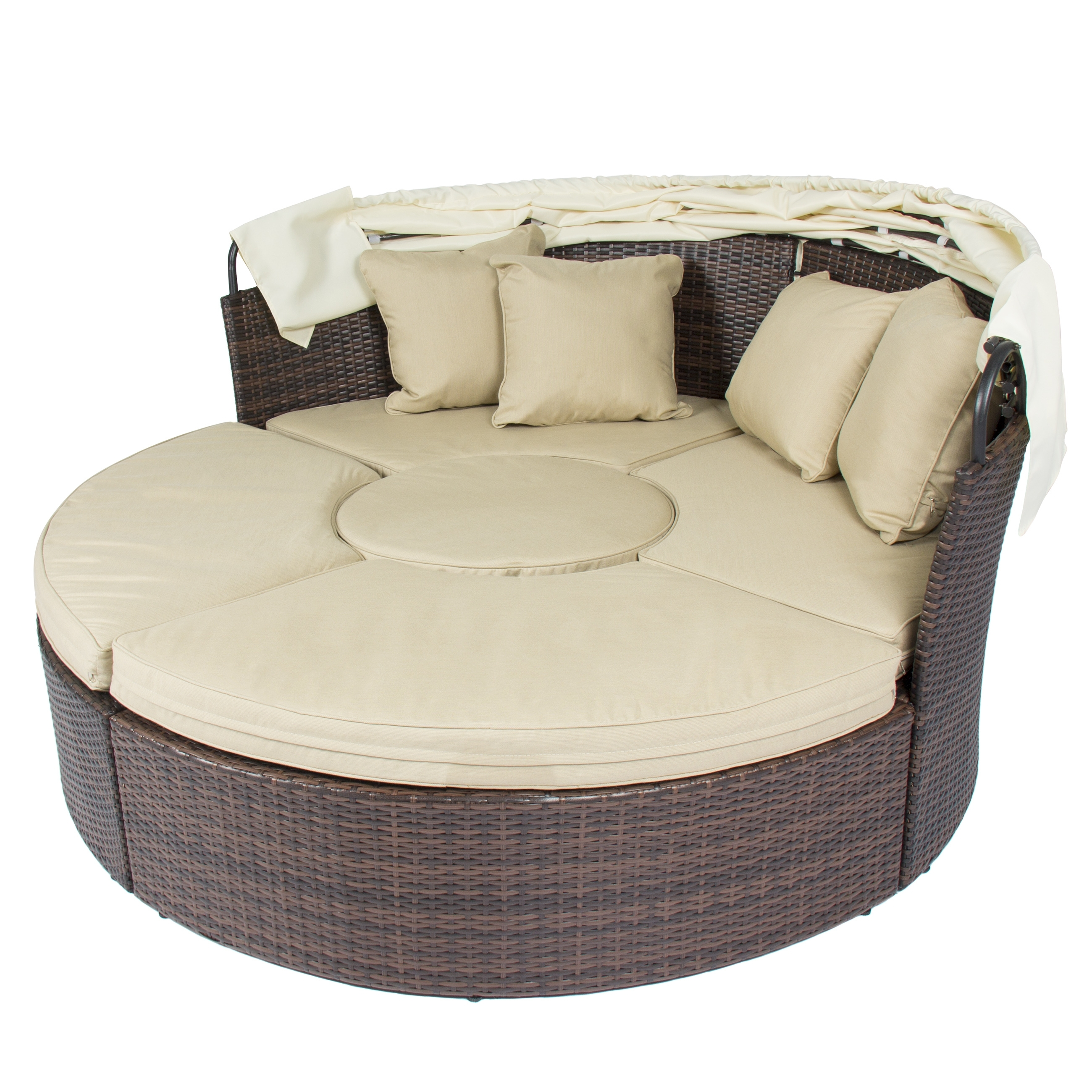 Newest Outdoor Patio Sofa Furniture Round Retractable Canopy Daybed Brown In Outdoor Sofa Chairs (View 9 of 20)