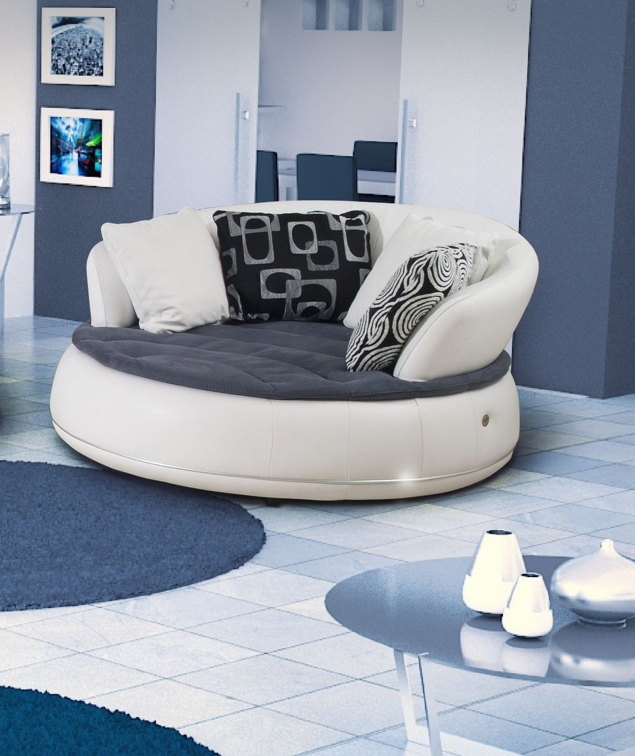 Newest Semicircular Sofa / Round / Contemporary / Leather – Espace – Nieri Pertaining To Semicircular Sofas (View 11 of 20)