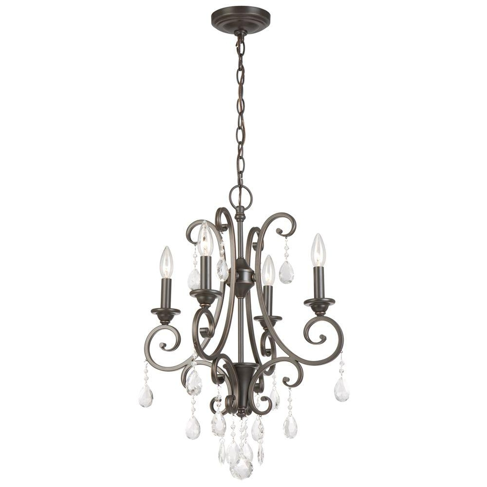 Newest Small Chandeliers Regarding Hampton Bay 4 Light Oil Rubbed Bronze Crystal Small Chandelier (View 2 of 20)