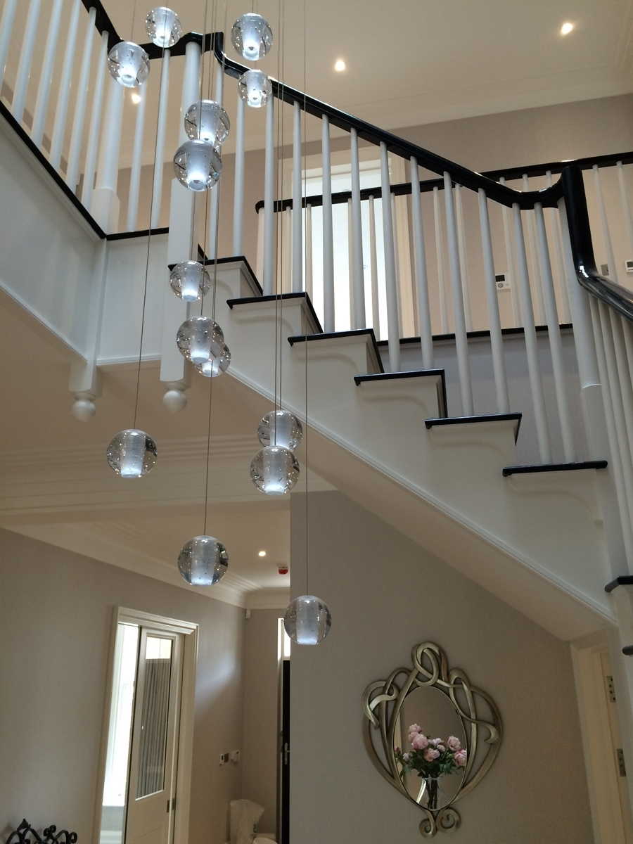 Newest Stairwell Chandeliers Within Modern Crystal Chandelier Led Hanging Lighting Large Big Glass Globe (View 10 of 20)