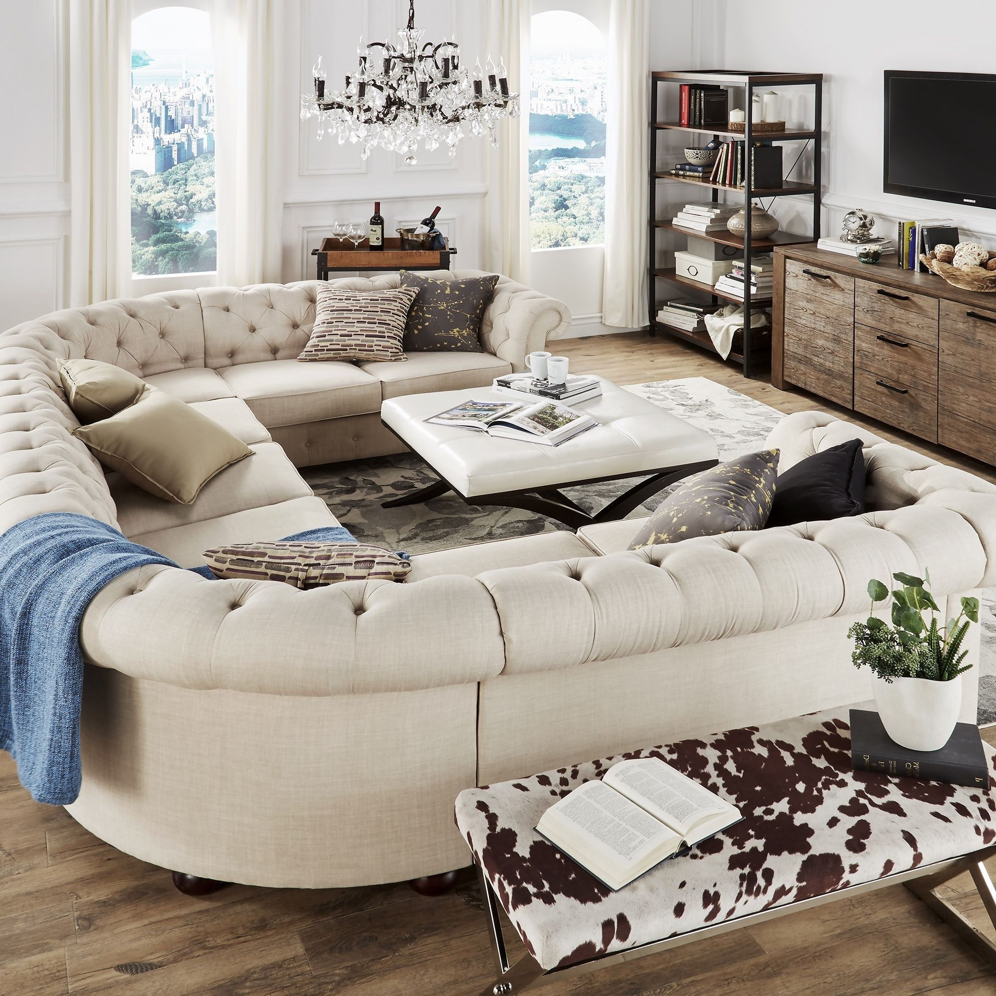 Newest Tribecca Home Knightsbridge Tufted Scroll Arm Chesterfield 9 Seat Within U Shaped Sectionals (View 9 of 20)
