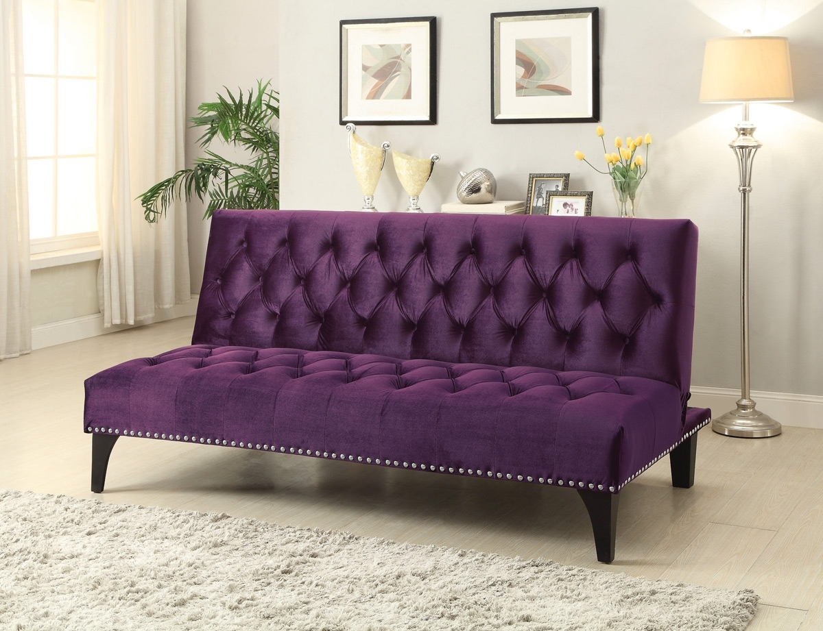 Newest Velvet Purple Sofas Regarding Purple Velvet Tufted Sofa Bed Futon – Caravana Furniture (View 13 of 20)