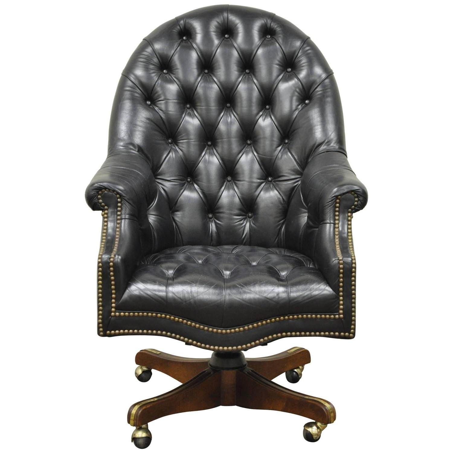 Newest Vintage Deep Tufted Black Leather English Chesterfield Style With Regard To Oversized Executive Office Chairs (View 10 of 20)