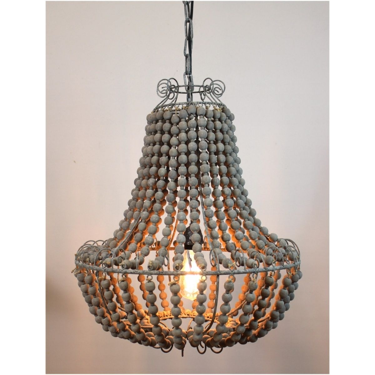 Newest Vintage Style Chandeliers Pertaining To Aged Wooden Beaded Big Chandelier Hand Made Lighting Fixture Ceiling (View 11 of 20)