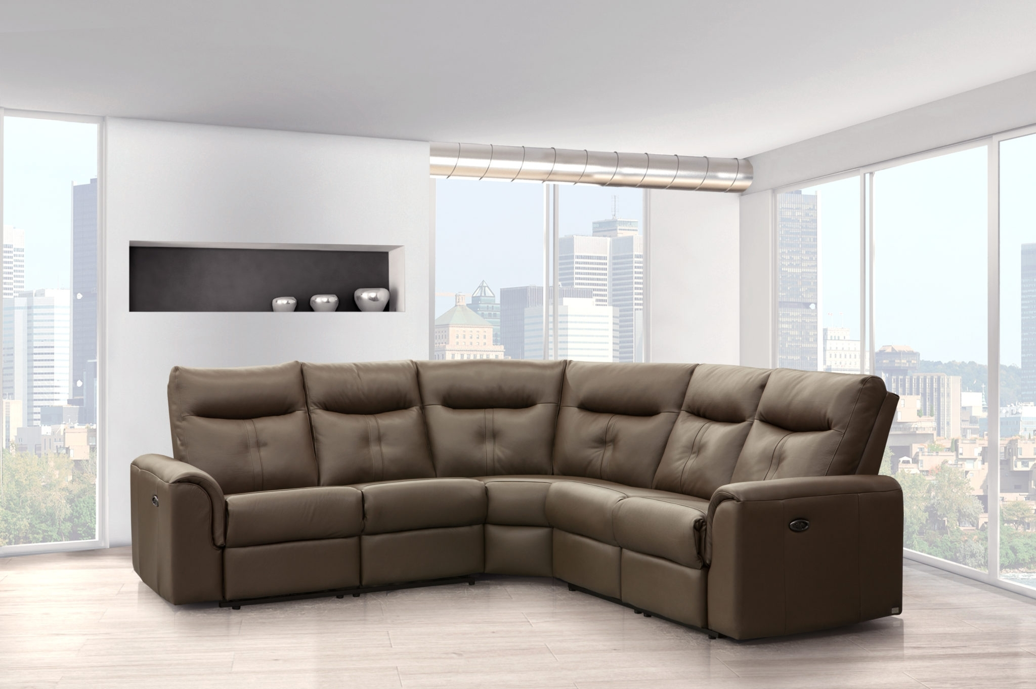 Newfoundland Sectional Sofas Intended For Best And Newest Elran 4016 Electric Reclining Leather Sectional (View 14 of 20)