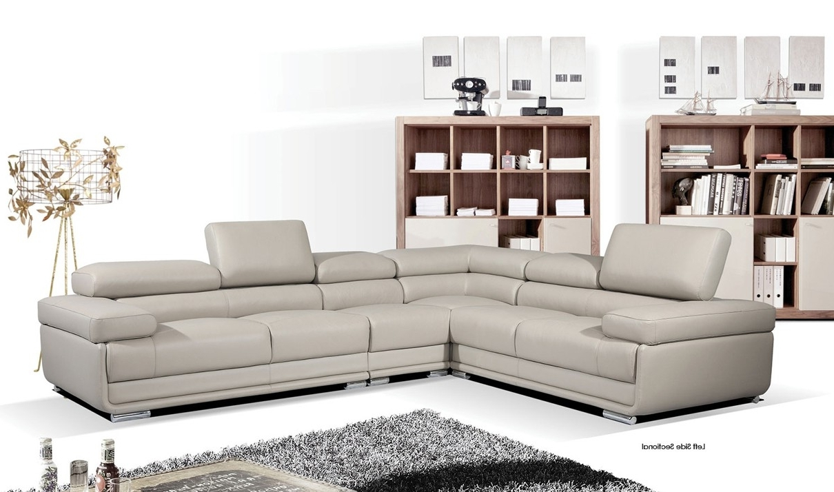 Nh Sectional Sofas Intended For Favorite 2119 Leather Sectional Sofa In Light Grey (View 11 of 20)
