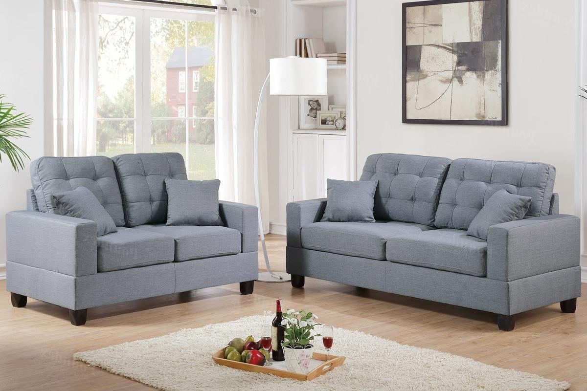 Nh Sectional Sofas Pertaining To Most Up To Date Grey Fabric Sofa And Loveseat Set – Steal A Sofa Furniture Outlet (View 5 of 20)