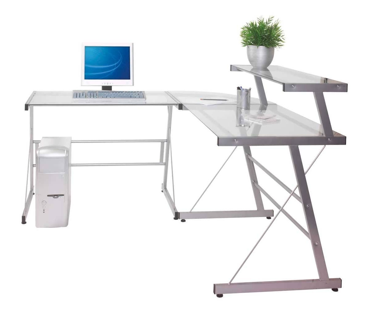 Office Desk Furniture Clear Glass Corner Computer Intended For Best And Newest