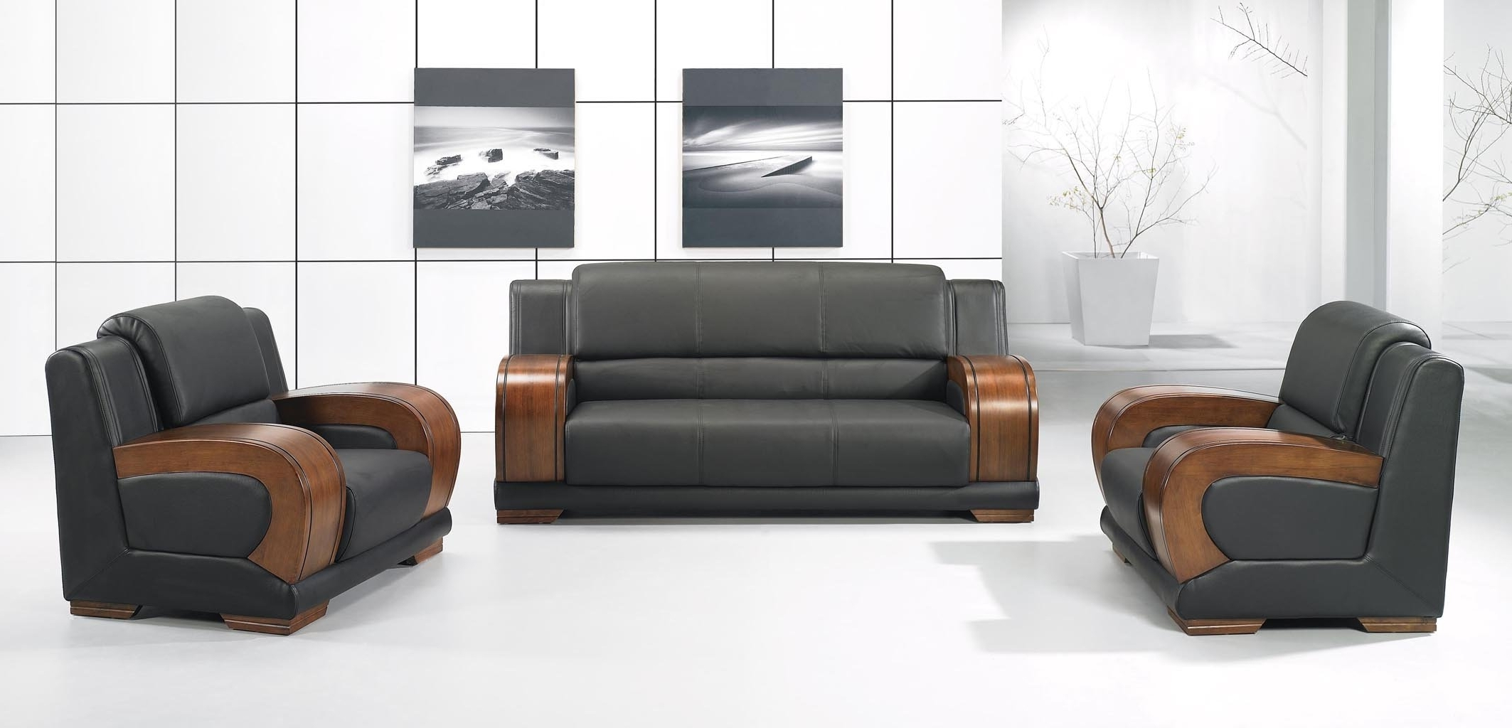 Office Sofas And Chairs Pertaining To Trendy Reception Office Furniture Type Architect Modern Black Guest (View 7 of 20)