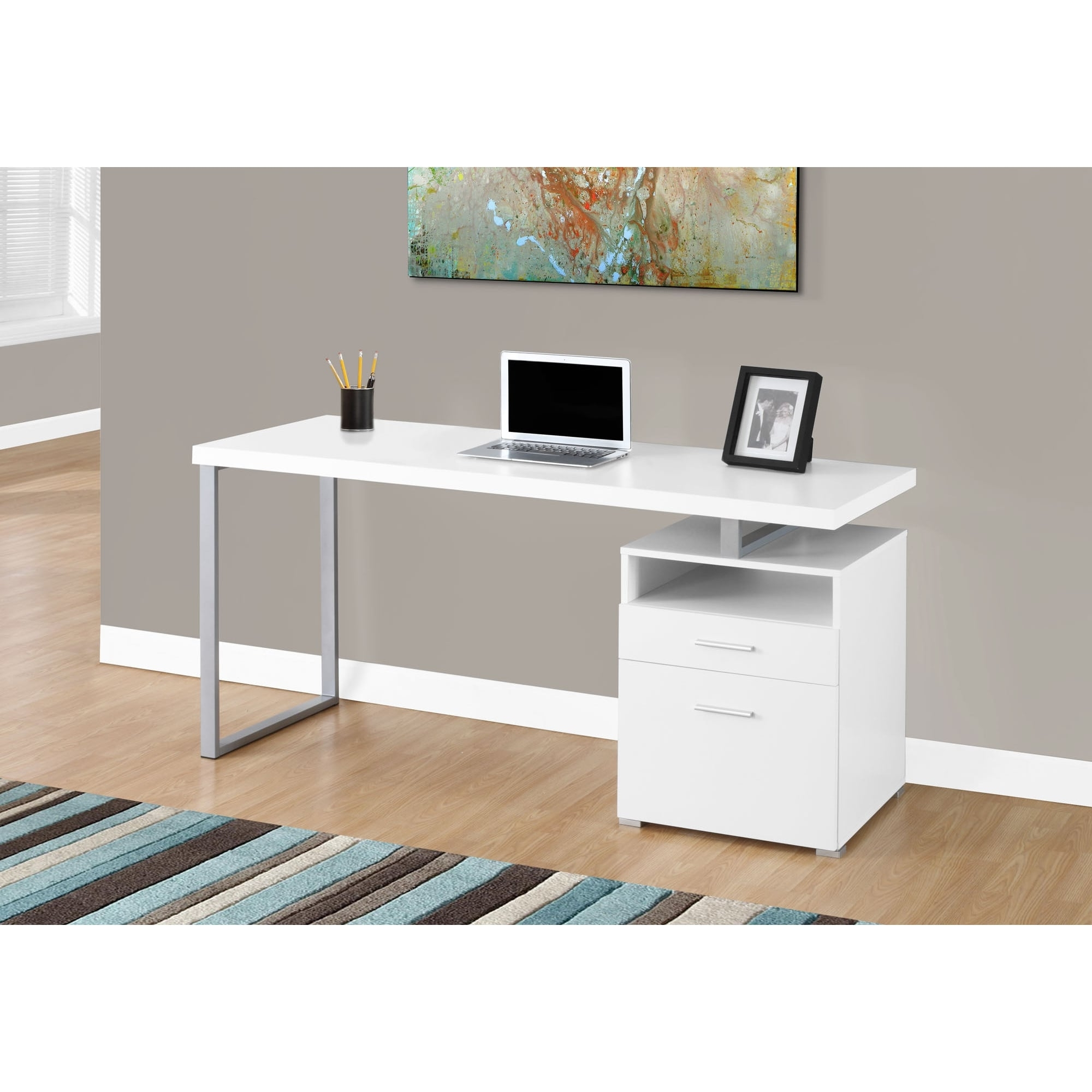 Oliver & James Joffe White Metal Computer Desk – Free Shipping Throughout Newest White Computer Desks (View 17 of 20)