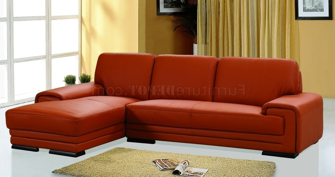 Orange Leather Upholstery Stylish Sectional Sofa With Favorite Orange Sectional Sofas (View 9 of 20)