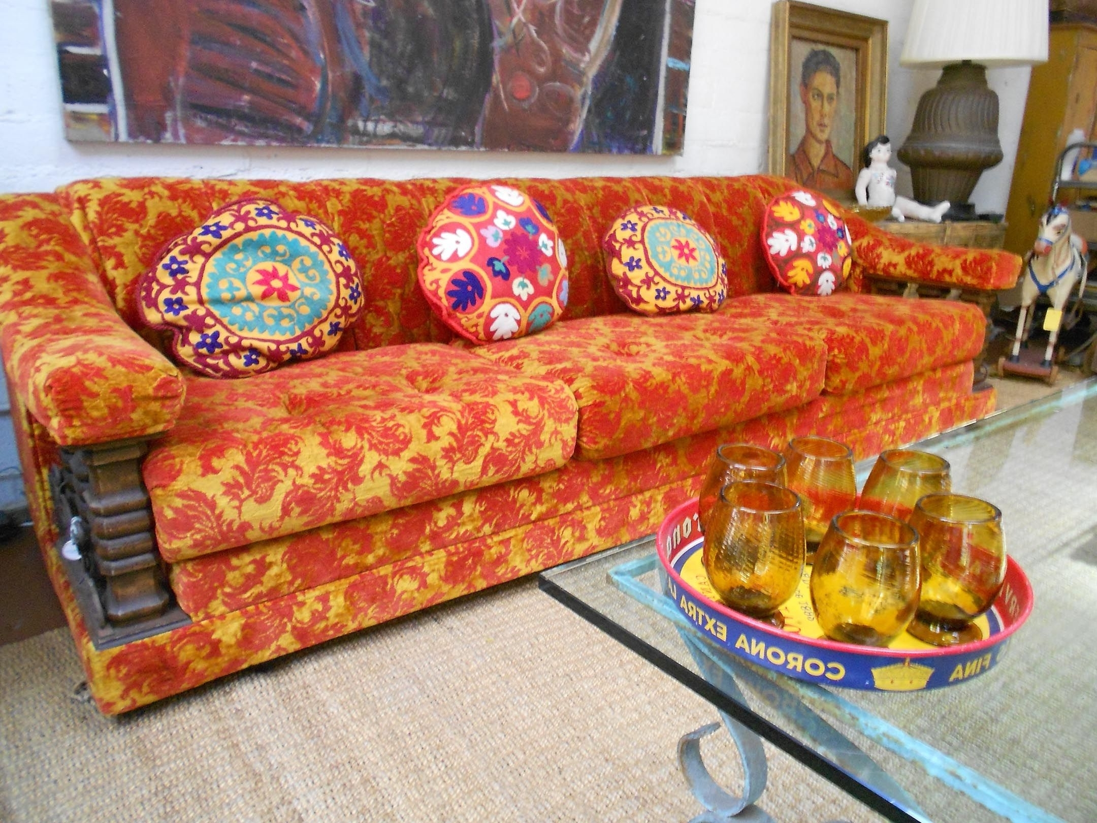 Orange #red #brocade #sofa #1960's #uzbeki #pillows #handblown Inside Most Current Sears Sofas (View 9 of 20)