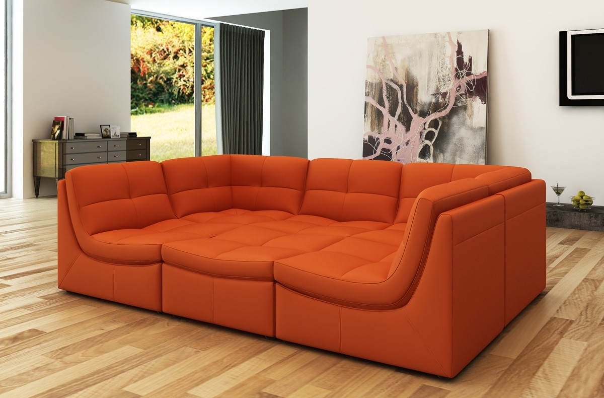 Orange Sectional Sofas In Most Popular Divani Casa 207 Modern Orange Bonded Leather Sectional Sofa (View 10 of 20)