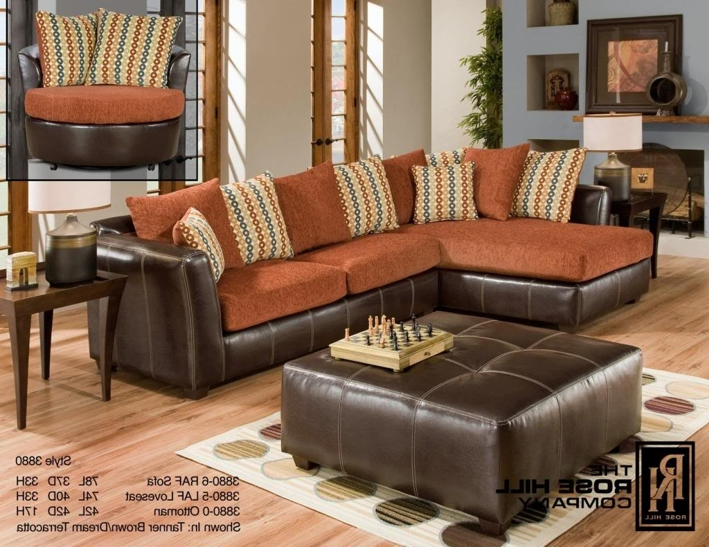 Orange Sectional Sofas Throughout Best And Newest Rose Hill Furniture Trapper Brown / Dream Terracotta Complete (View 13 of 20)
