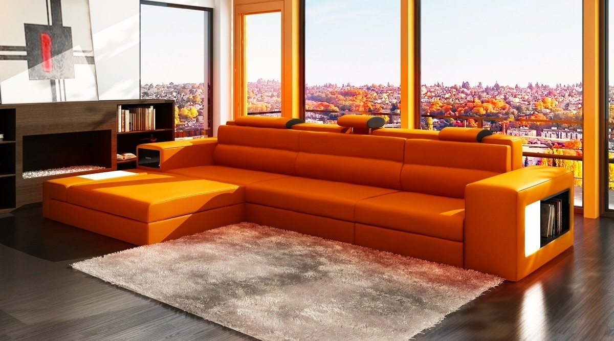 Orange Sectional Sofas With 2018 Furniture: Awesome Living Room Design With Contemporary Sectional (View 14 of 20)
