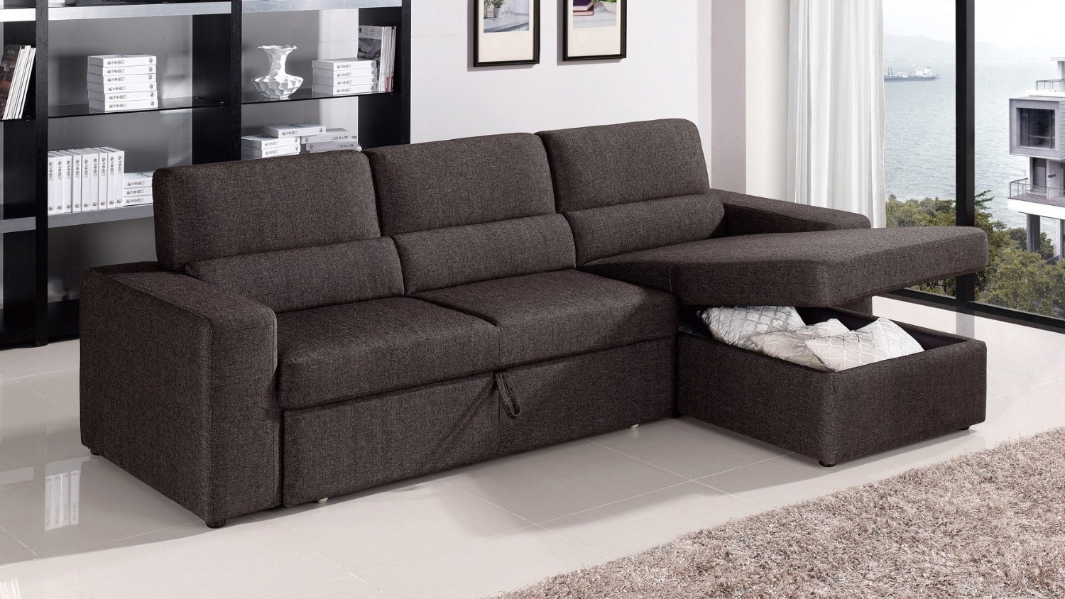 Orion Sectional Modern Leather Chair And Ottoman Fabric Chair And Inside Well Known Sectional Sleeper Sofas With Ottoman (View 11 of 20)