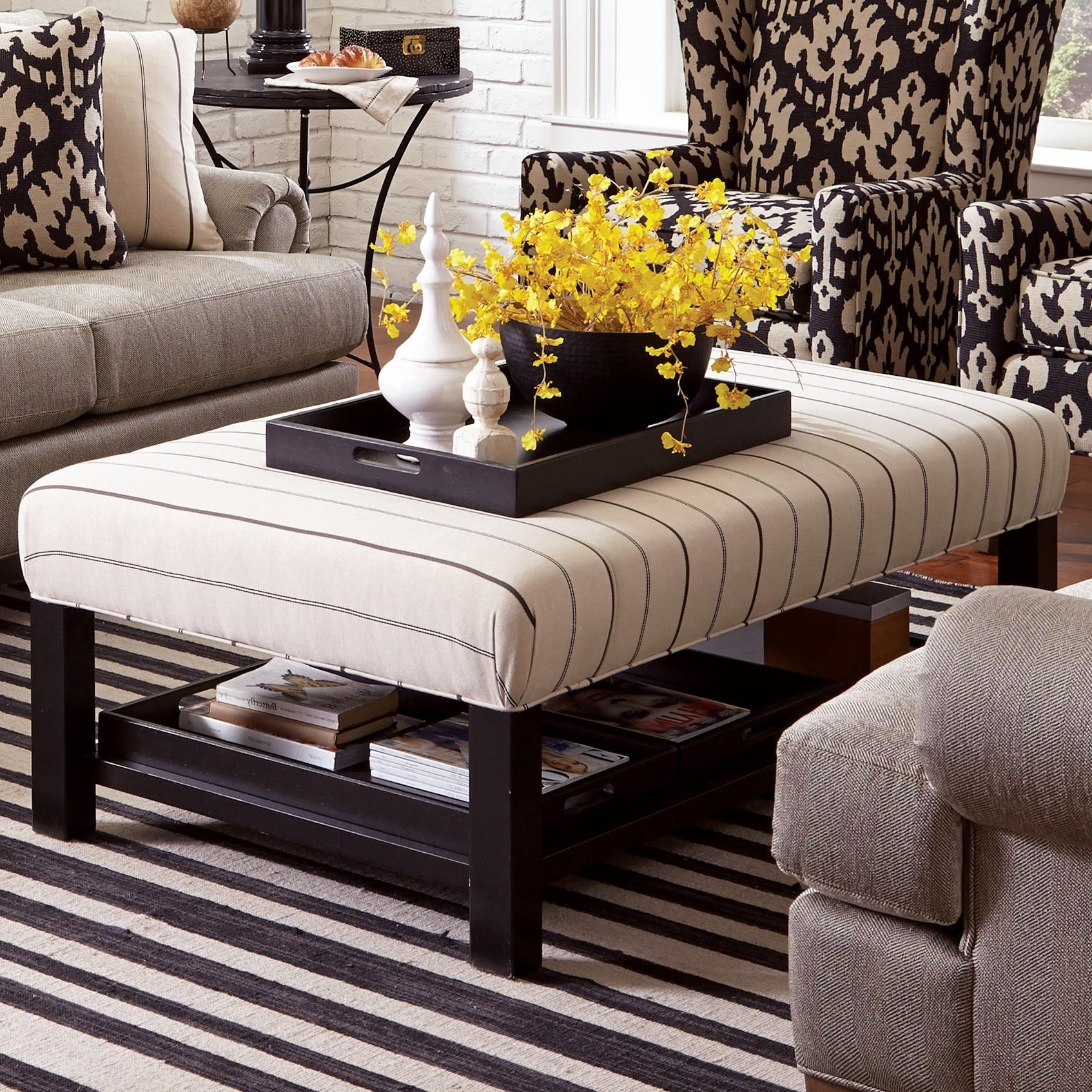 Ottomans With Tray For Popular Craftmaster Accent Ottomans Contemporary Storage Bench Ottoman (View 10 of 20)