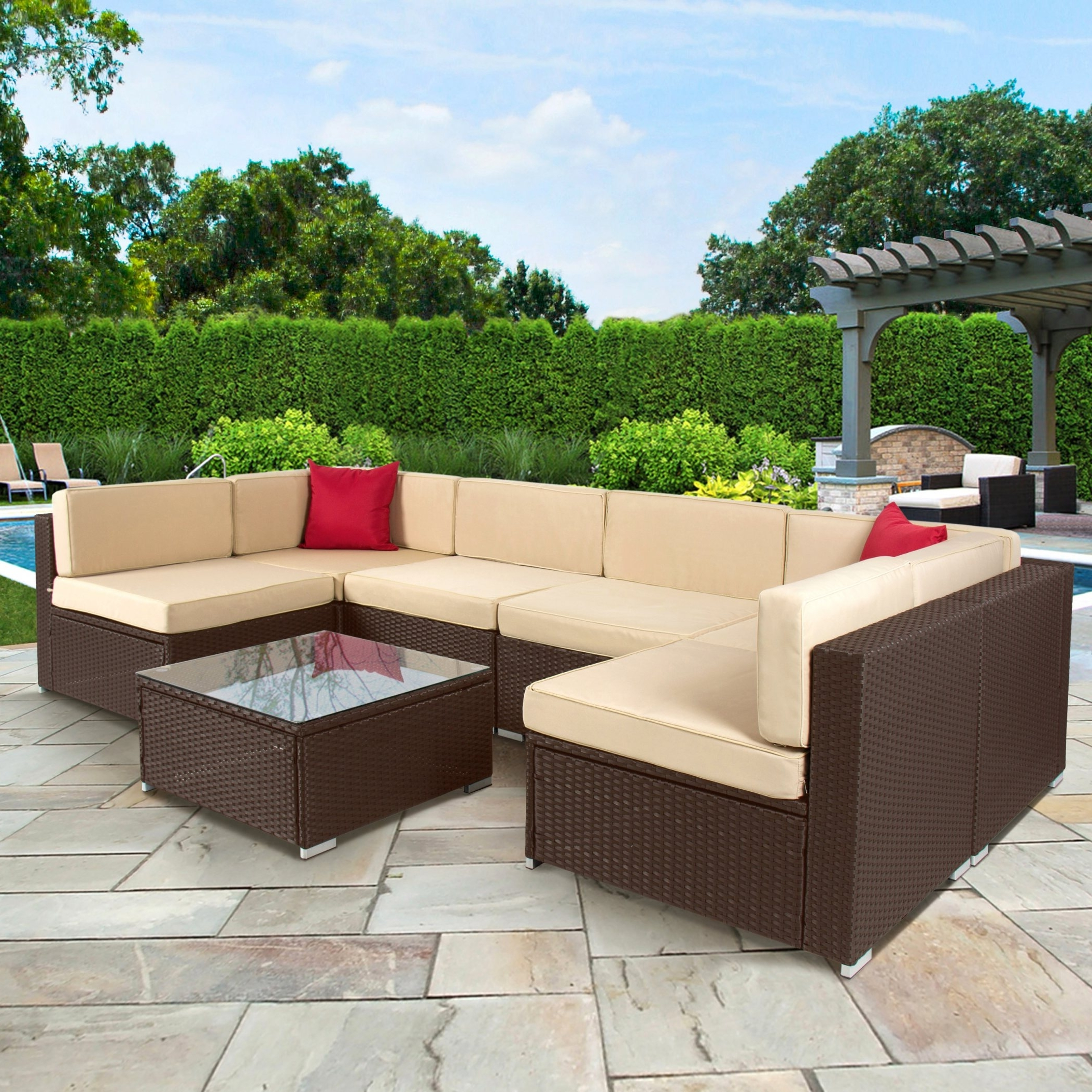 Outdoor Patio Sofas #6 Outsunny 7 Piece Outdoor Patio Rattan Pertaining To Current Patio Sofas (View 7 of 20)