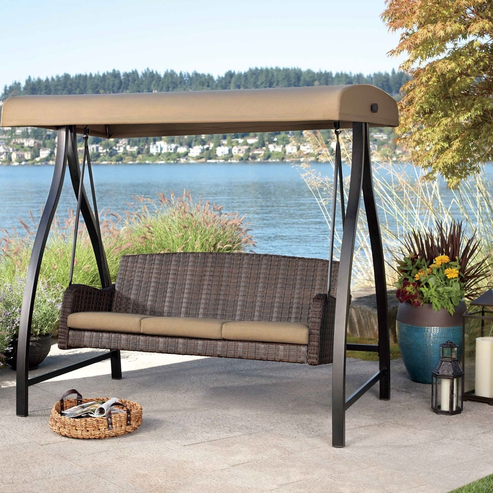 Outdoor Sofas With Canopy Inside Latest Canopy Patio Swing Brown Finish Powder Coated Steel Frame (View 11 of 20)
