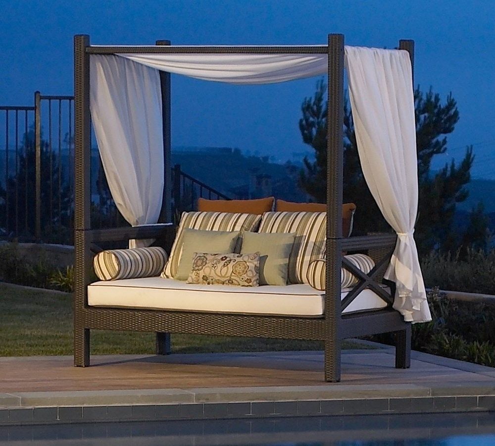 Outdoor Sofas With Canopy With Most Current Outdoor Furniture Sofa Wicker Daybed Images On Outstanding (View 4 of 20)
