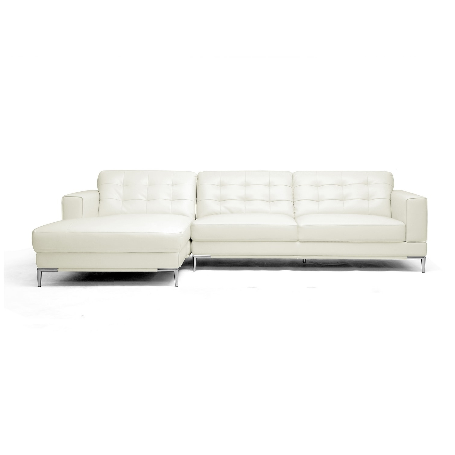 Overstock Sectional Sofas Inside Popular Babbitt Sleek Ivory Leather Modern Sectional Sofa – Free Shipping (View 11 of 20)