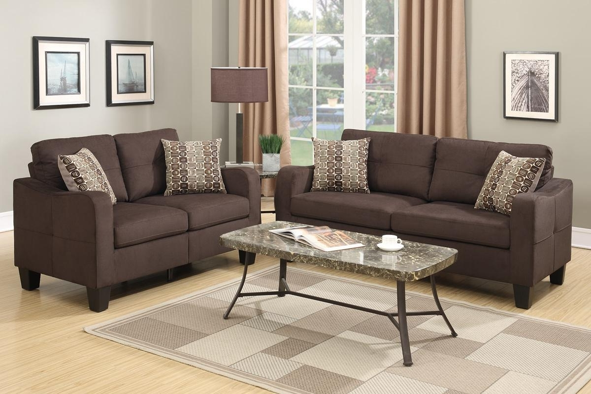 Overstuffed Sofas And Chairs For Most Current Brown Fabric Sofa And Loveseat Set – Steal A Sofa Furniture Outlet (View 8 of 20)