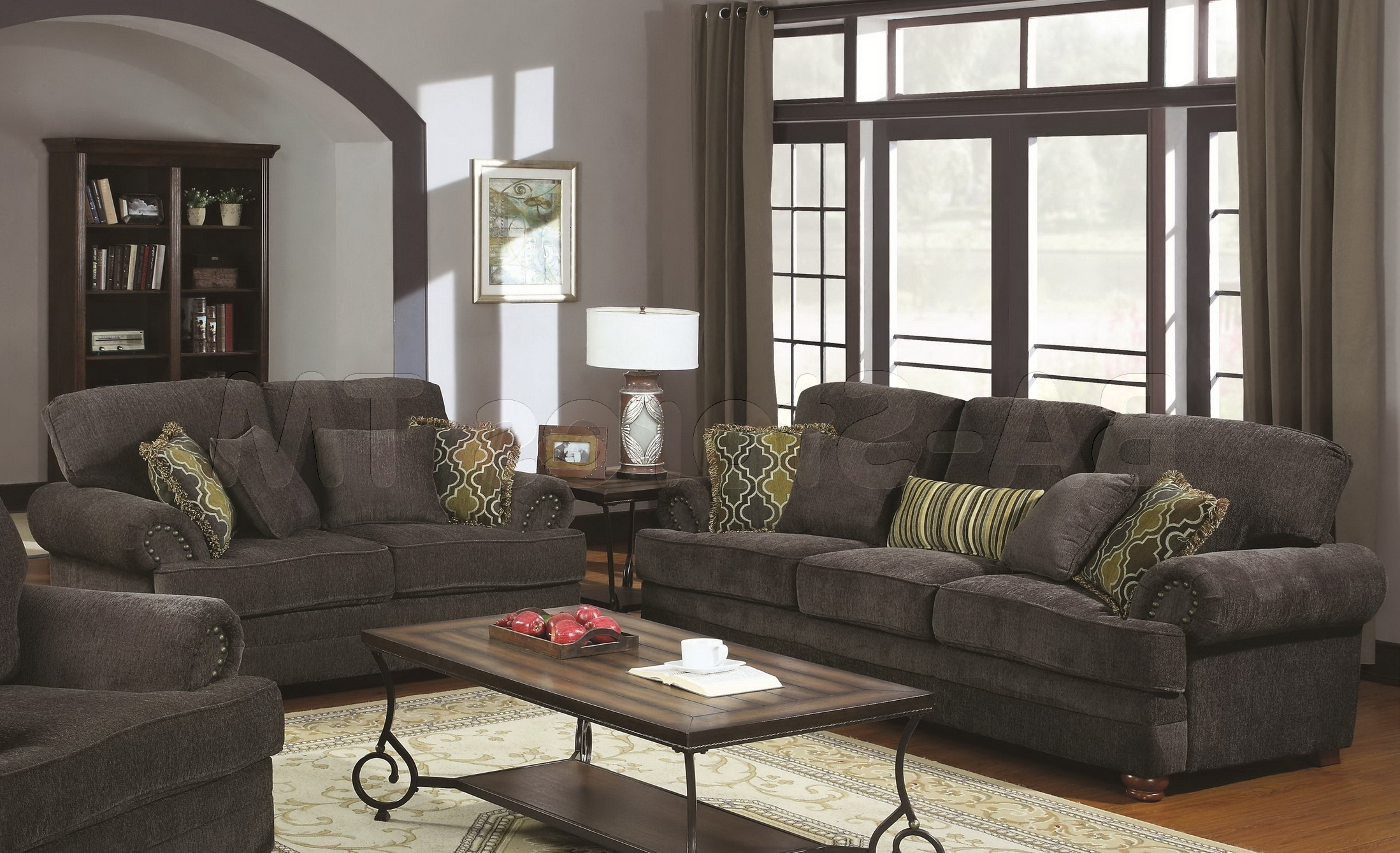 Overstuffed Sofas And Chairs Inside Newest Grey Sofa Setcolton Smokey Grey Chenille 2 Pc Sofa Set–Sofa And (View 14 of 20)