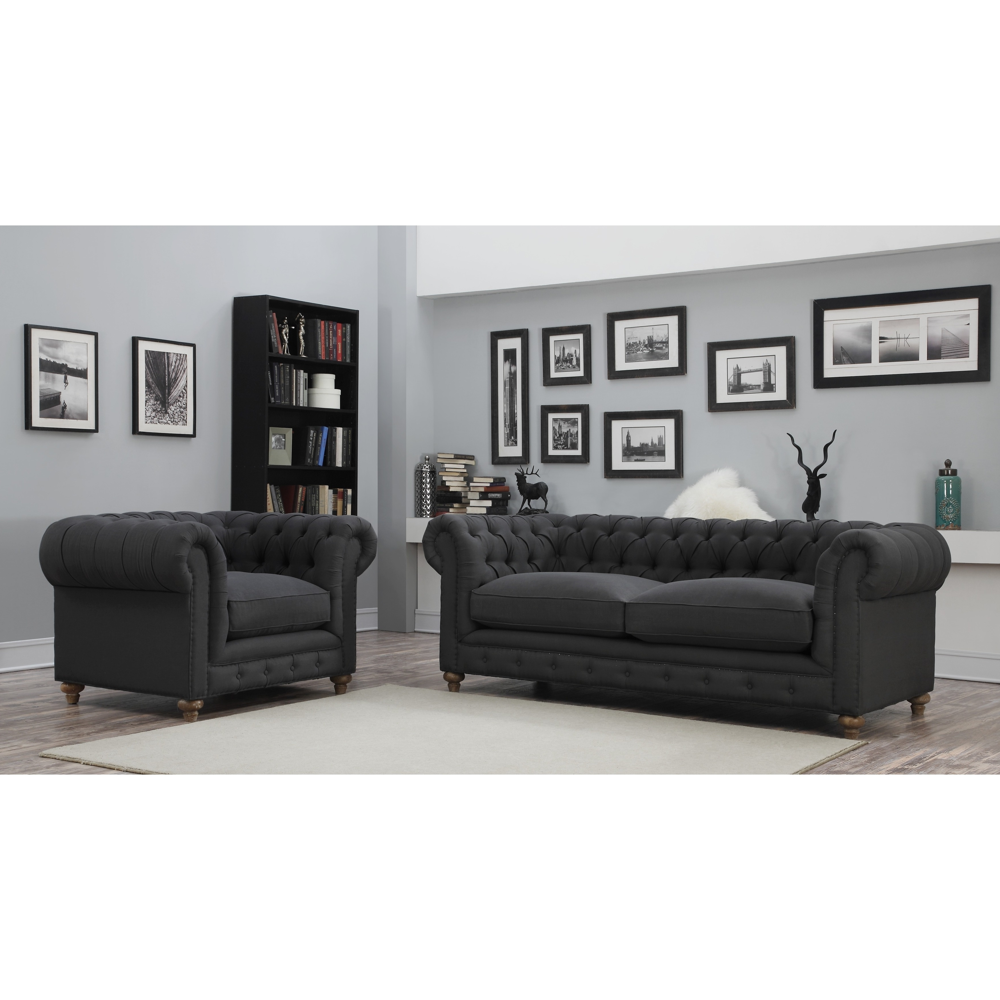 Oxford Sofas With Regard To Trendy Oxford Grey Linen Tufted Sofa – Free Shipping Today – Overstock (View 16 of 20)