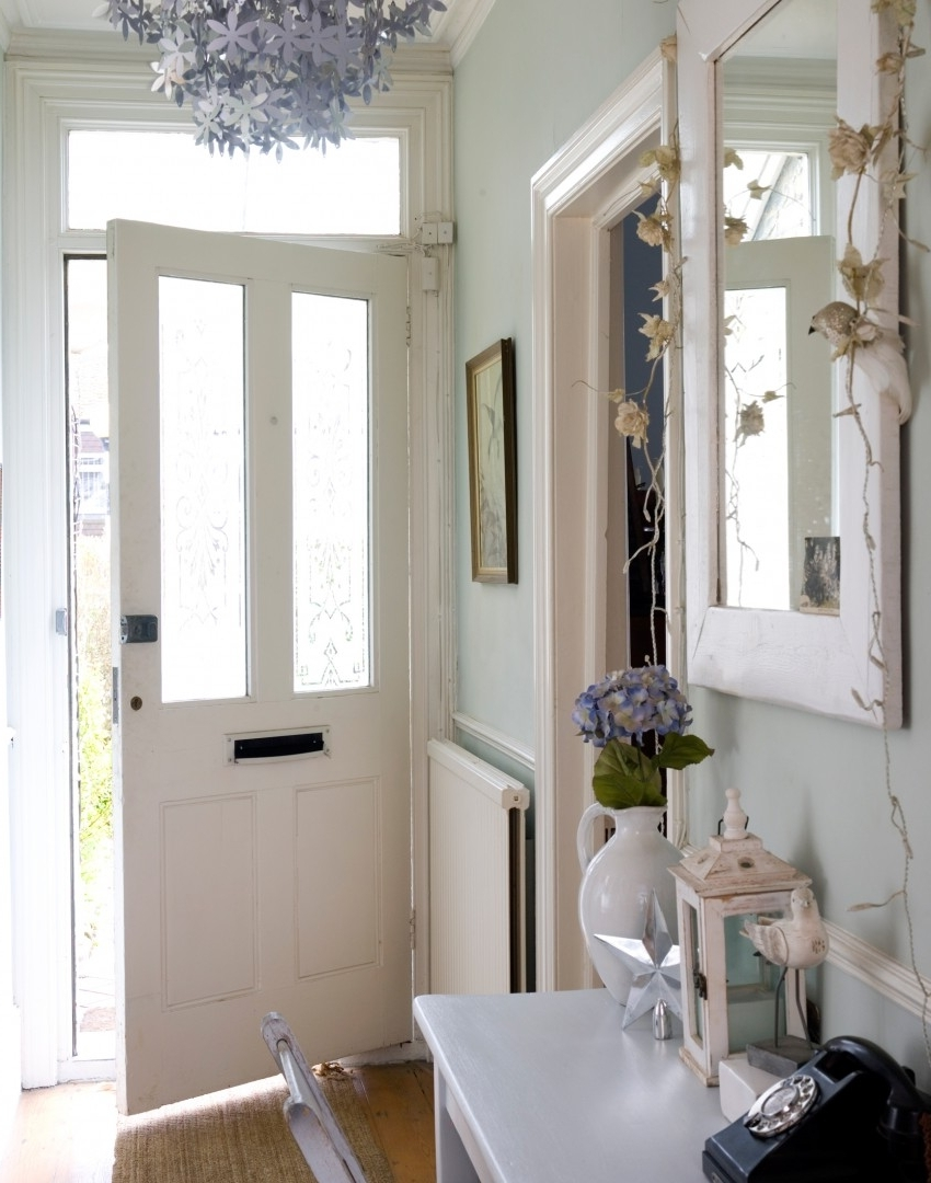Pale Green Hallway With Silver Floral Chandelier Maximise Your Small In Popular Small Hallway Chandeliers (View 12 of 20)
