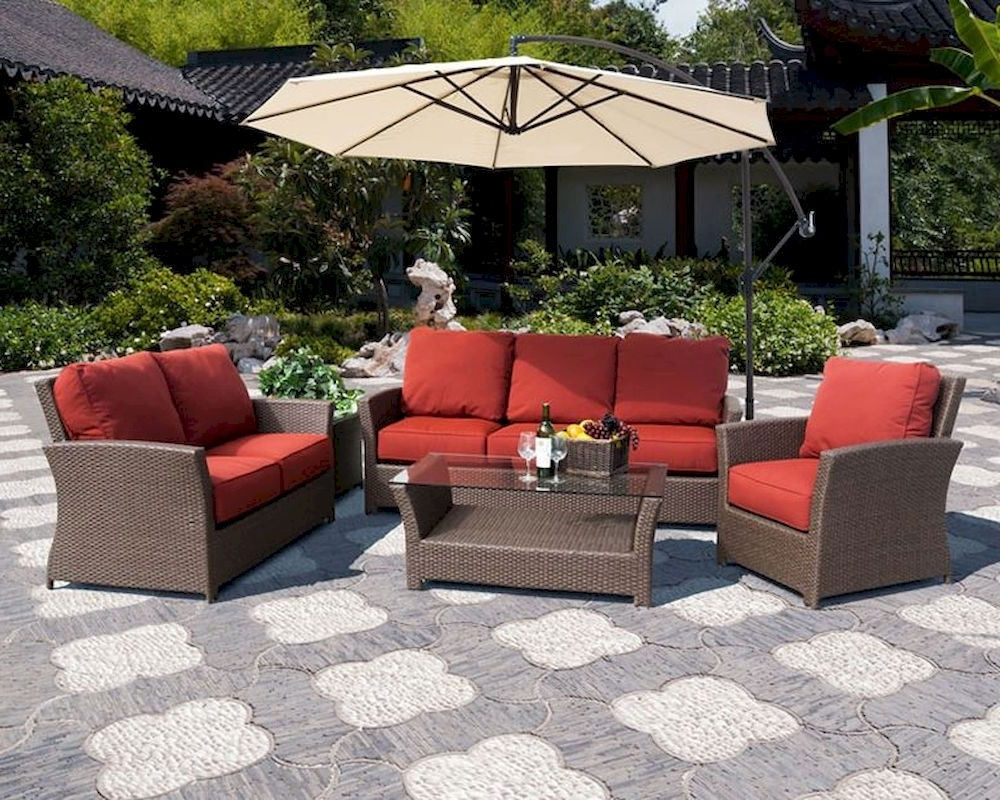 Patio Sofas Intended For Well Known Avalon Patio Sofa Setsunny Designs Su 4753 Set (View 2 of 20)