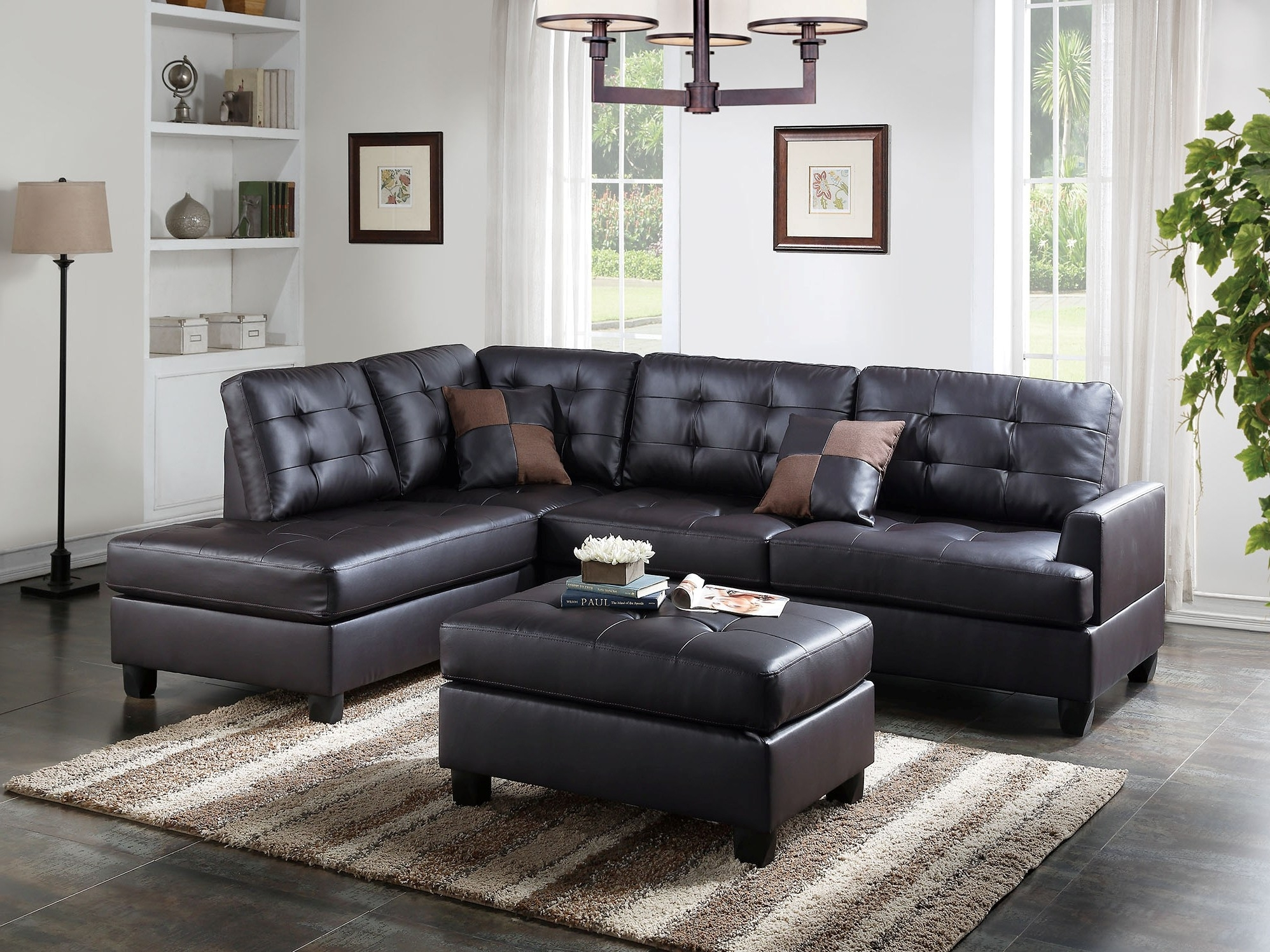 Pconal Sofa With Chaise Storage And Ottoman 3Pcs Set Carpenter Throughout Fashionable Kanes Sectional Sofas (View 4 of 20)