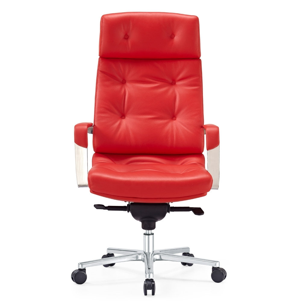 Perot Genuine Leather Aluminum Base High Back Executive Chair With Most Popular Red Leather Executive Office Chairs (View 11 of 20)