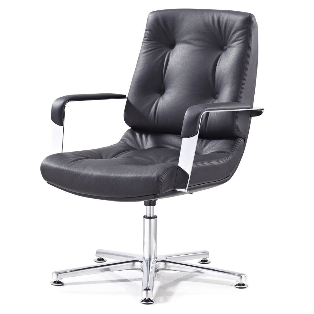 Perot Leather And Chrome Adjustable Office Chair With Aluminum Throughout Fashionable Sleek Style Executive Office Chairs (View 13 of 20)