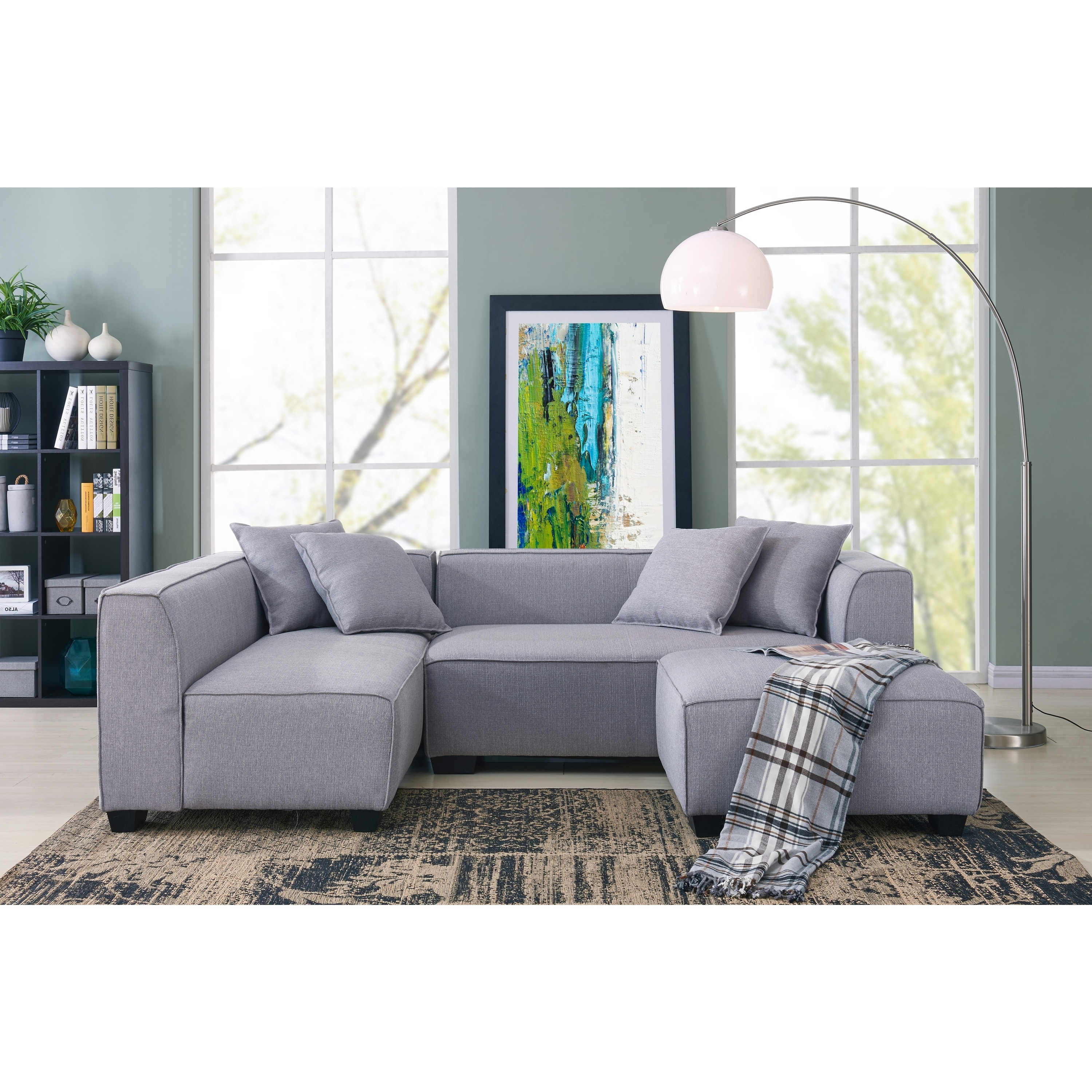 Phoenix Sectional Sofas Pertaining To Well Liked Handy Living Phoenix Grey Sectional Sofa With Ottoman – Free (View 13 of 20)