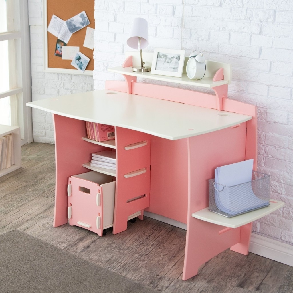 Pink And White Compact Computer Desk With Storage Plus Cpu Stand With Newest Pink Computer Desks (View 10 of 20)