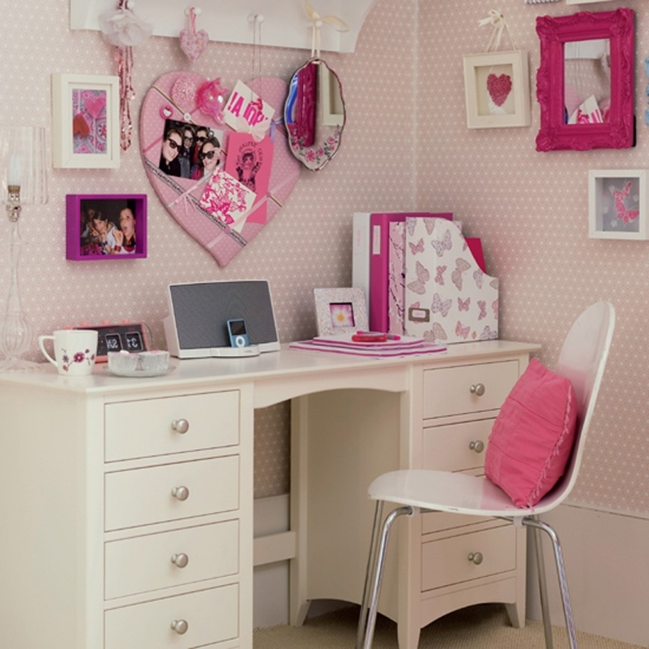 Pink Computer Desks For Famous Beautiful White Computer Desk And Chair For Teenage Girls With (View 11 of 20)
