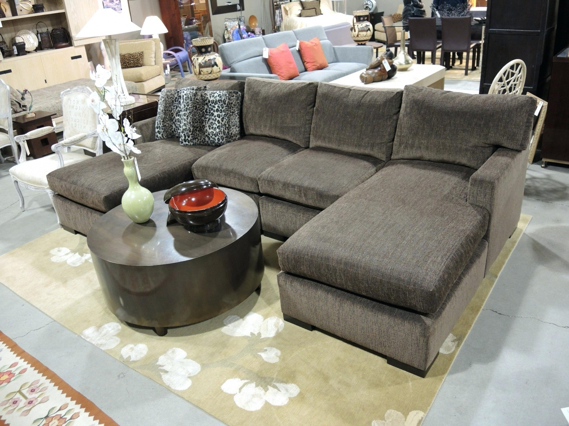 Plush Sectional Sofas With Latest Chaise : Classic Chesterfield Double Chaise Leather Sectional Sofa (View 13 of 20)