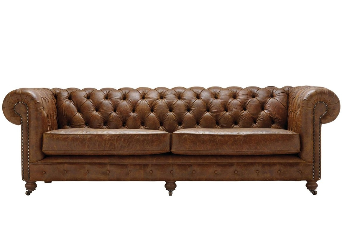 Popular 4 Seat Leather Sofas Inside Vintage Chesterfield 4 Seater Leather Sofa – Thomas Lloyd (View 19 of 20)