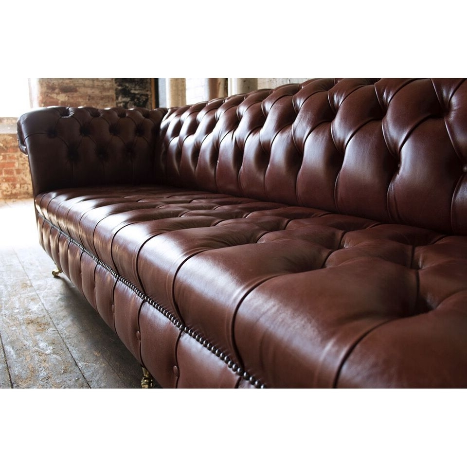 Popular 4 Seat Leather Sofas Throughout Handmade 4 Seater Chesterfield Leather Sofa – Chestnut Brown Pedlars (View 16 of 20)