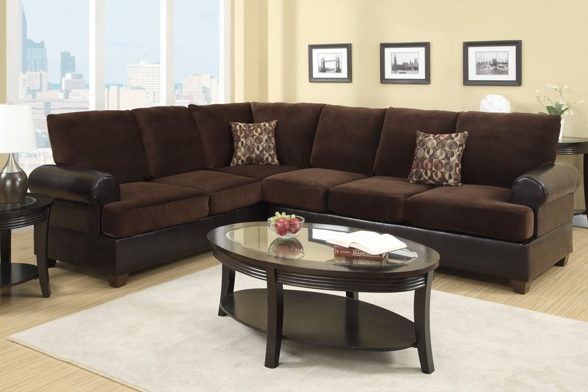 Popular Abbas Chocolate Microsuede Sectional Sofa – Steal A Sofa Furniture In Leather And Suede Sectional Sofas (View 7 of 20)