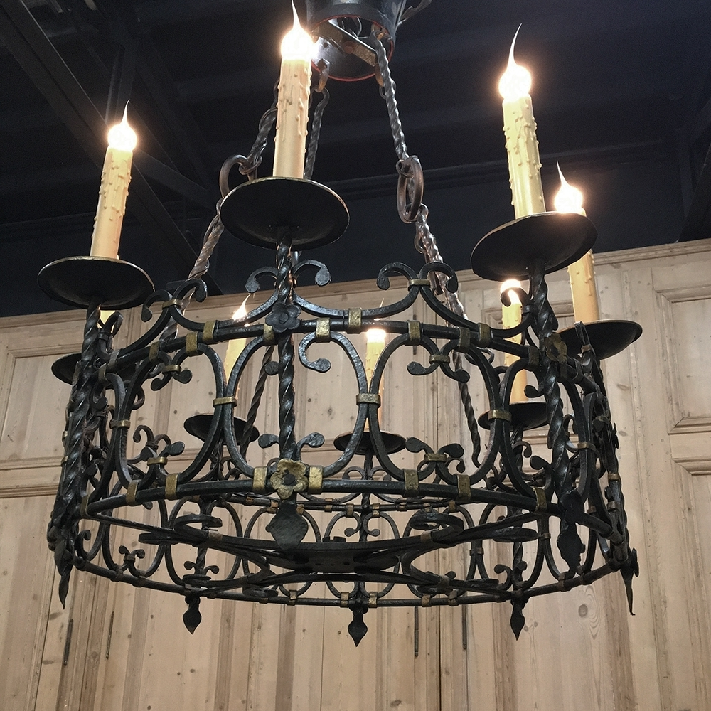 Popular Antique Country French Wrought Iron Chandelier – Inessa Stewart's Intended For Wrought Iron Chandelier (View 7 of 20)