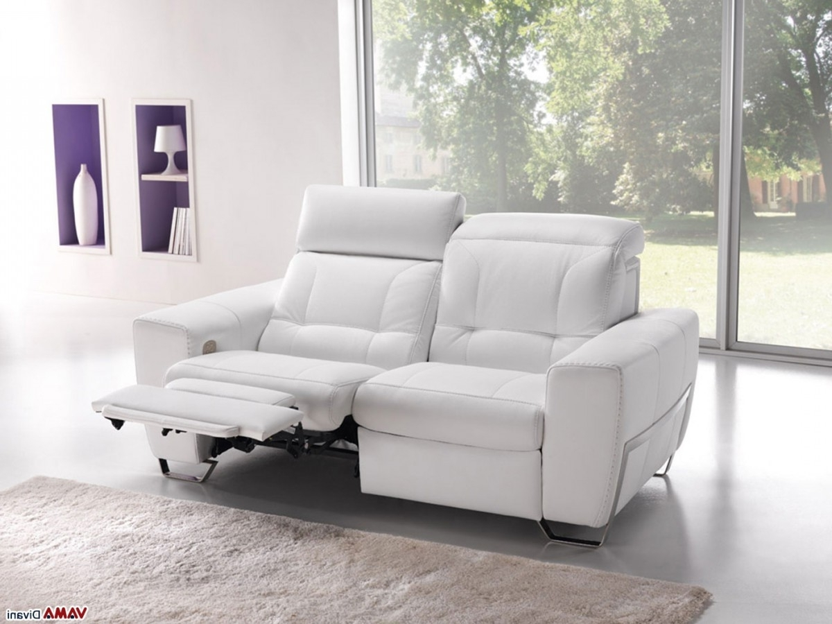 Popular Best White Leather Reclining Sofa , Elegant White Leather With Regard To 2 Seater Recliner Leather Sofas (View 7 of 20)