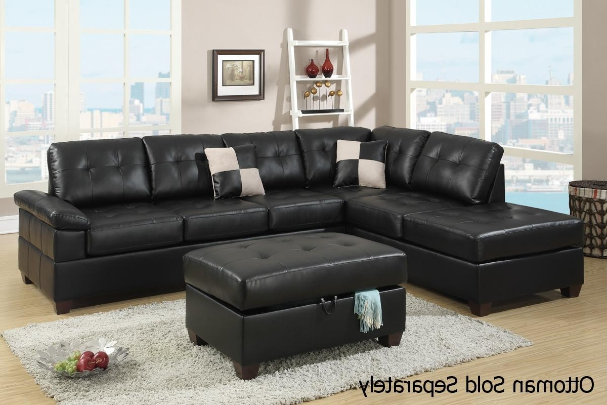 Popular Black Leather Sectional Sofa – Steal A Sofa Furniture Outlet Los With Regard To Black Leather Sectionals With Ottoman (View 17 of 20)