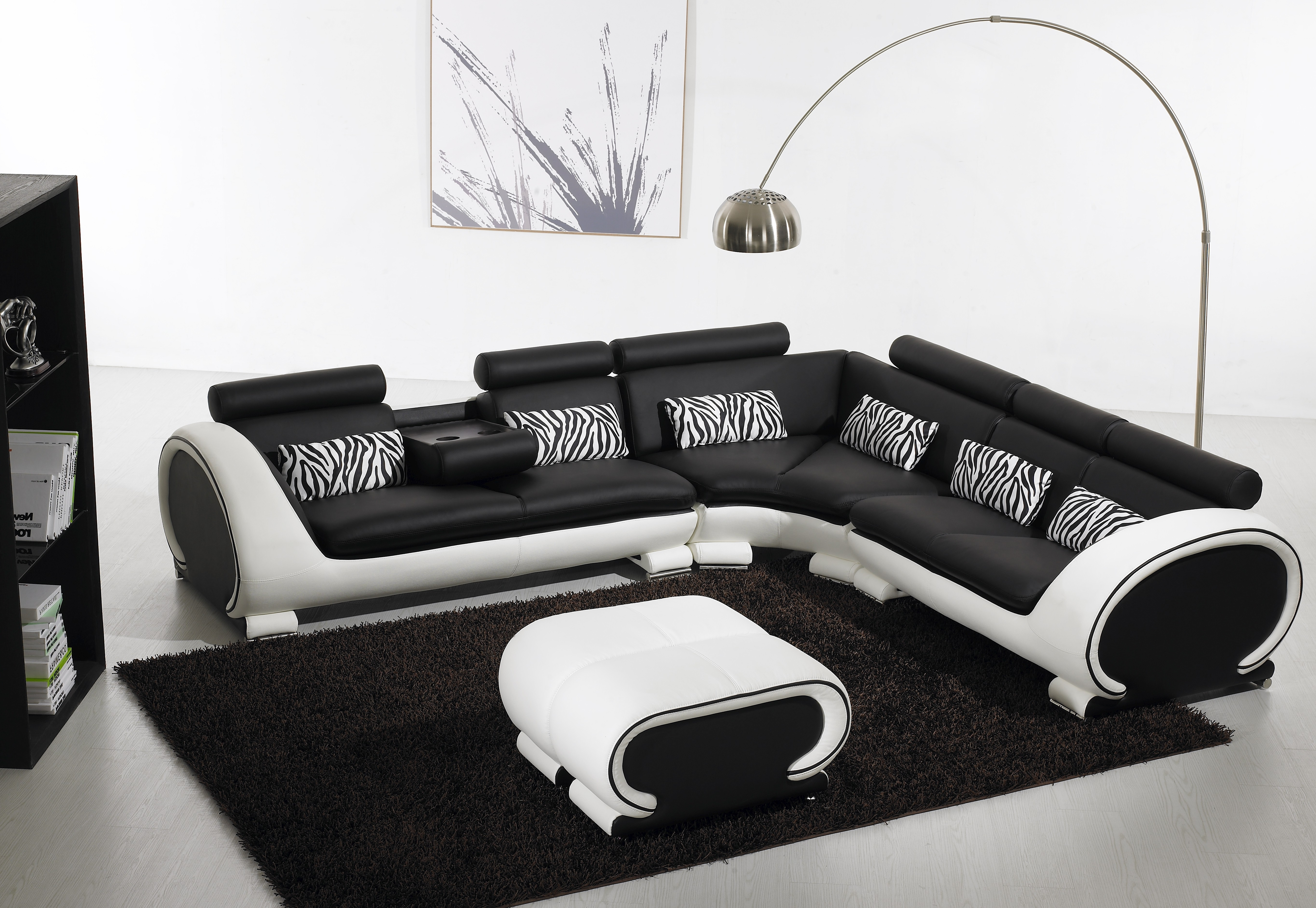 Popular Blossom Corner Black And White Leather Sofa Suite (View 16 of 20)