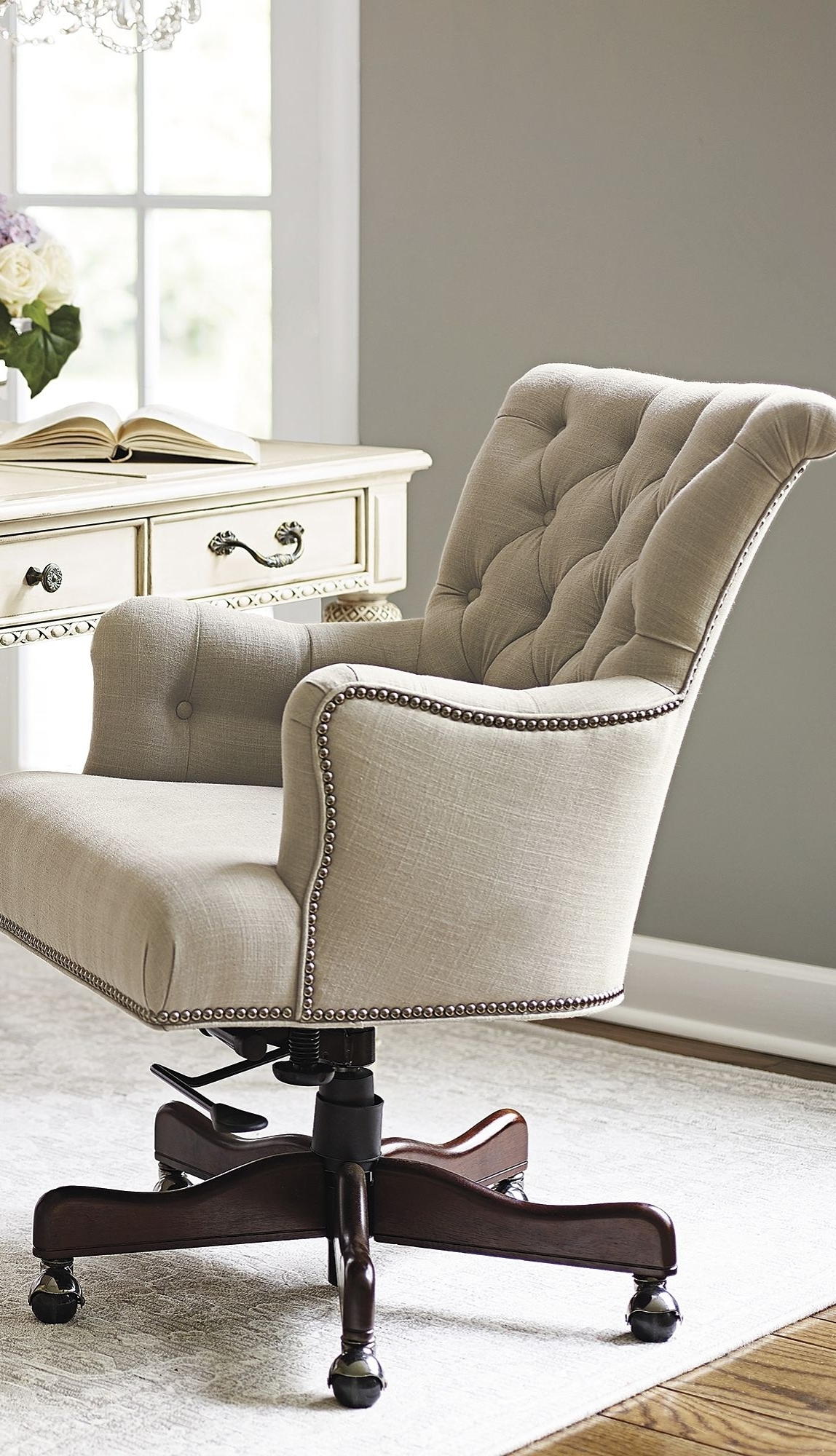 Popular Button Tufted Linen Accented With Silver Nailhead Trim Defines The With Nailhead Executive Office Chairs (View 18 of 20)