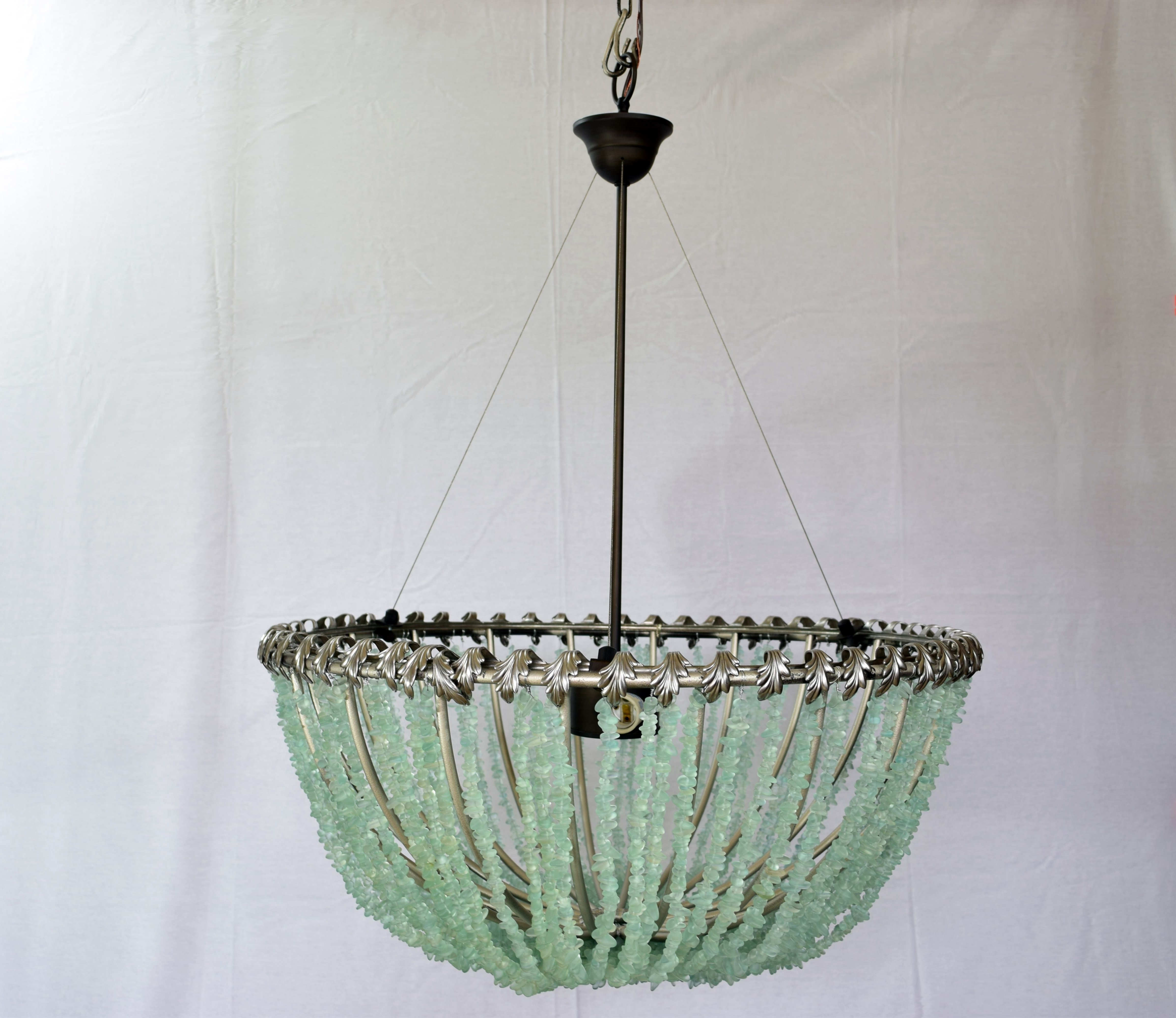 "Popular Buy A Hand Crafted François – Au Courant Interiors Llc 20"" Open Sea Intended For Turquoise Glass Chandelier Lighting (View 18 of 20)"