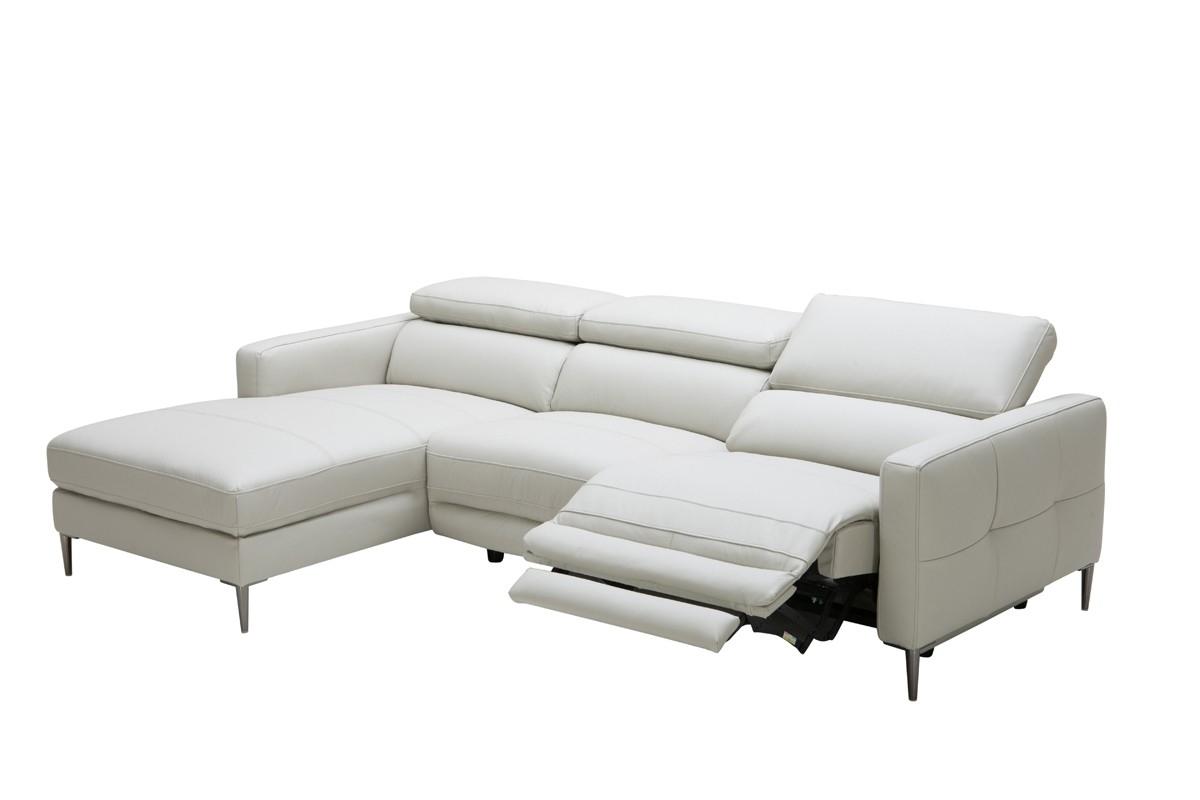Popular Casa Booth Modern Light Grey Leather Sectional Sofa W/ Electric Within Miami Sectional Sofas (View 15 of 20)