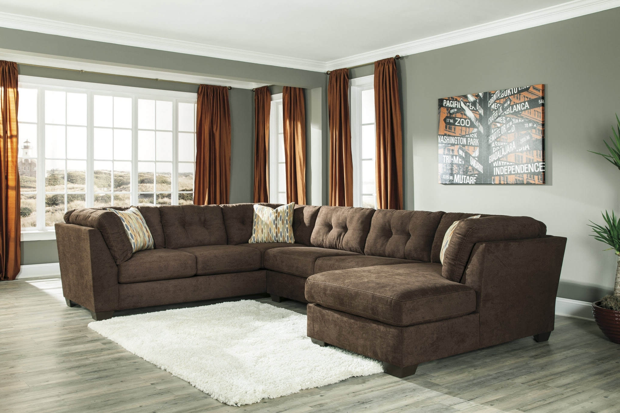 Popular Chocolate Sectional Sofas Throughout Chocolate Sectional Sofa Set With Chaise (View 13 of 20)