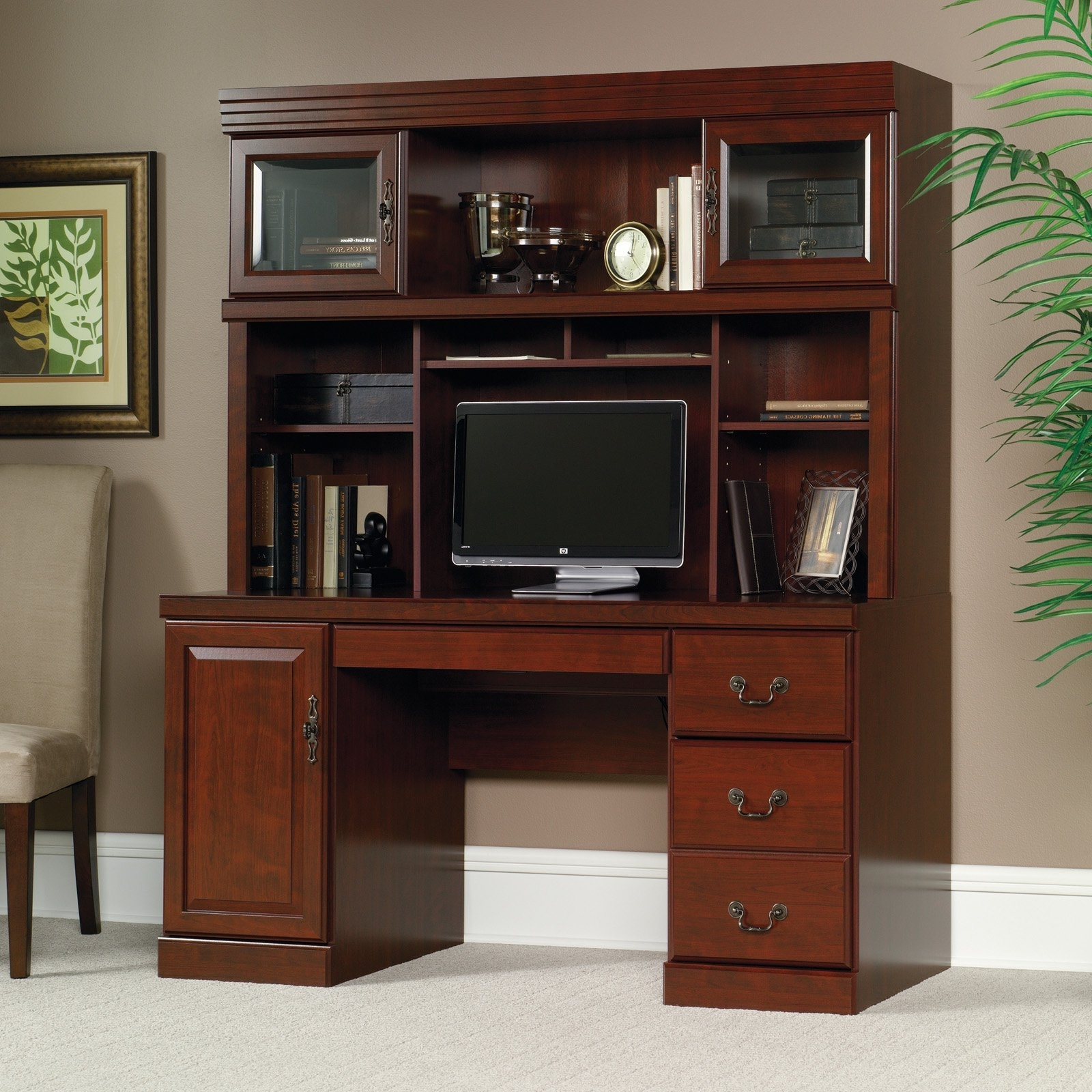 Popular Executive Computer Desks Pertaining To Hutch Storage For Computer Desk Cherry Office Shelving Home (View 15 of 20)