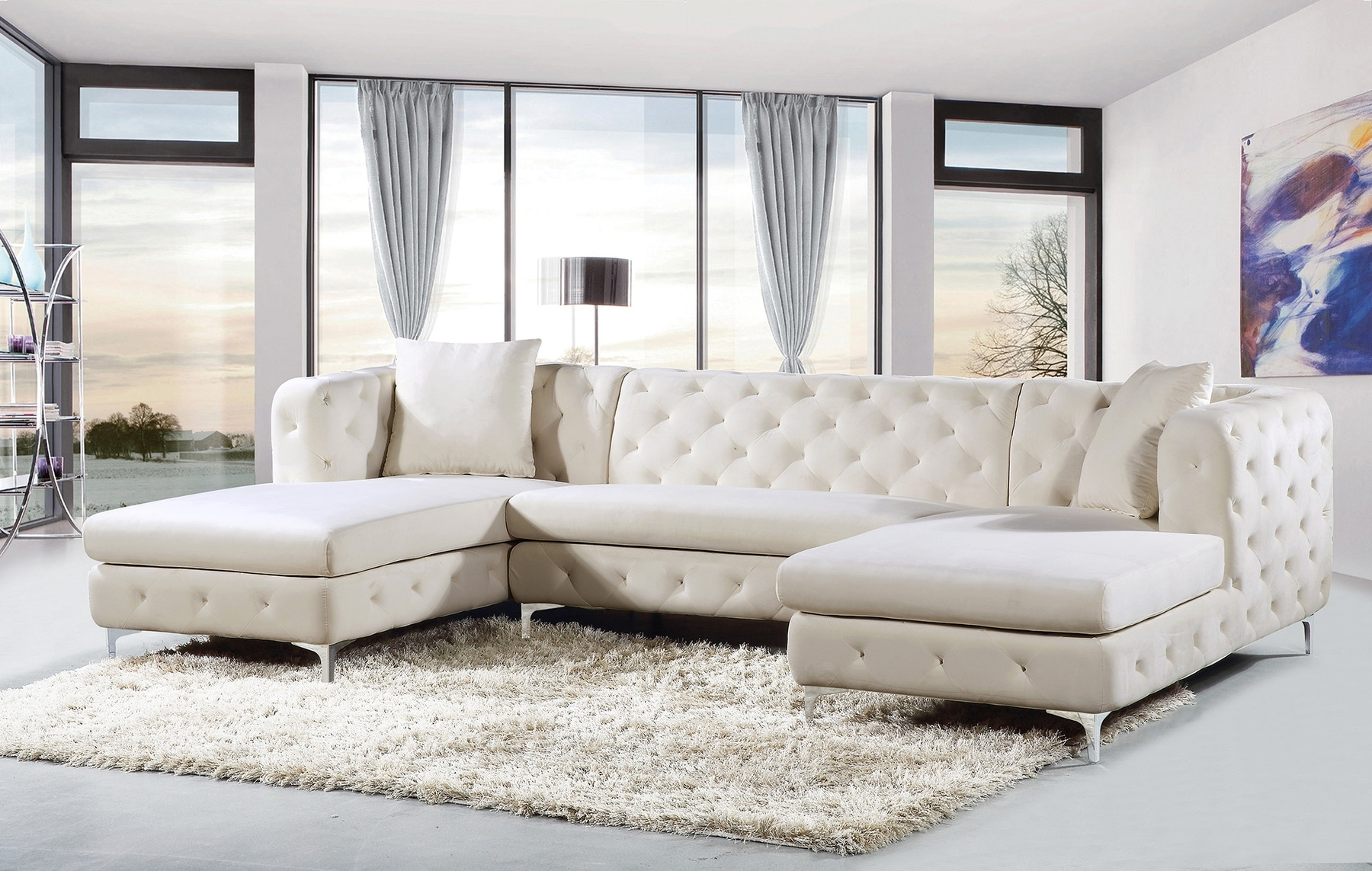 Popular Gail Cream Sectional Sofa 664 Meridian Furniture Sectional Sofas Throughout Sectional Sofas (View 11 of 20)
